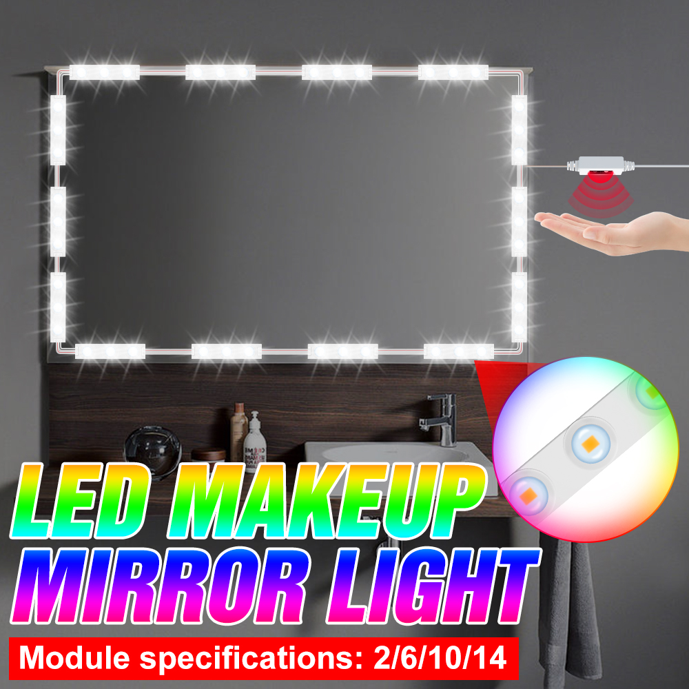 LED Mirror Lamp Makeup Mirror Light Hand Sweep Sensor LED Vanity Lights LED Wall Lamp Dimmable Dressing Table Bathroom Lighting