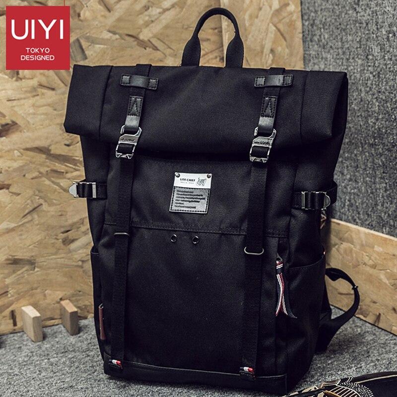 Black Men's Japanese Backpack 14-inch Waterproof Multi-function Backpack Male Fashion Casual Simple BackPack Crossbody Bag Man