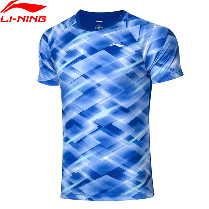 Li-Ning Men Badminton Competition Tops AT DRY Breathable T-Shirts Polyester Regular Fit LiNing Li Ning Sport Tee AAYP281 MTS3145
