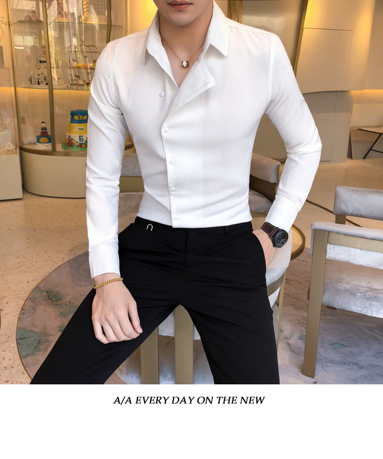 Hfa7111a9fc6b49f5b964949dce2b3379z Solid Color Shirt Dress Brand New Slim Fit Men Shirt Solid Long Sleeve Shirts Men Camisa Masculina Tuxedo Clothes
