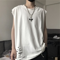 Summer South Korea INS Harajuku Style Street with Holes Tear Casual Versatile Loose Base Shirt Short Sleeve Vest Tops