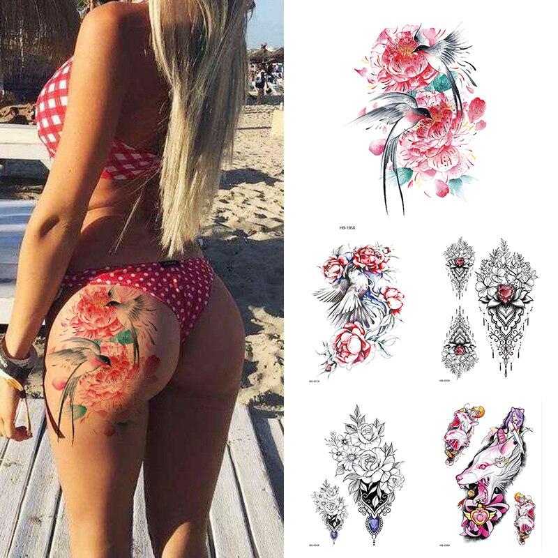 Peony Rose Temporary Tattoo Stickers,Women Body Art Tattoo,Girl Back Breast Tatoos Flower