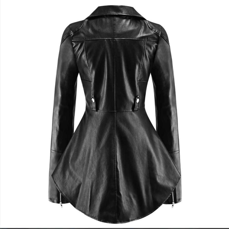 CHAMSGEND جديد الخريف المرأة جلدية منفضة سترة معطف Frill كشكش سستة حزام معطف قصير الإناث فاسق مفجر أبلى 1003