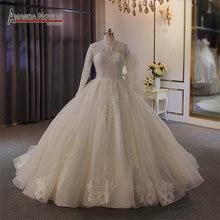 Элегантное кружевное свадебное платье с высоким вырезом, мусульманское свадебное платье 2020