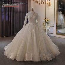 Elegancki wysoki dekolt pełna koronkowa suknia ślubna muzułmańska suknia ślubna 2020