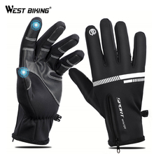 WEST BIKING Bike Touch Screen Gloves Winter Thermal Windproof Warm Full Finger For Cycling Men Waterproof Bicycle