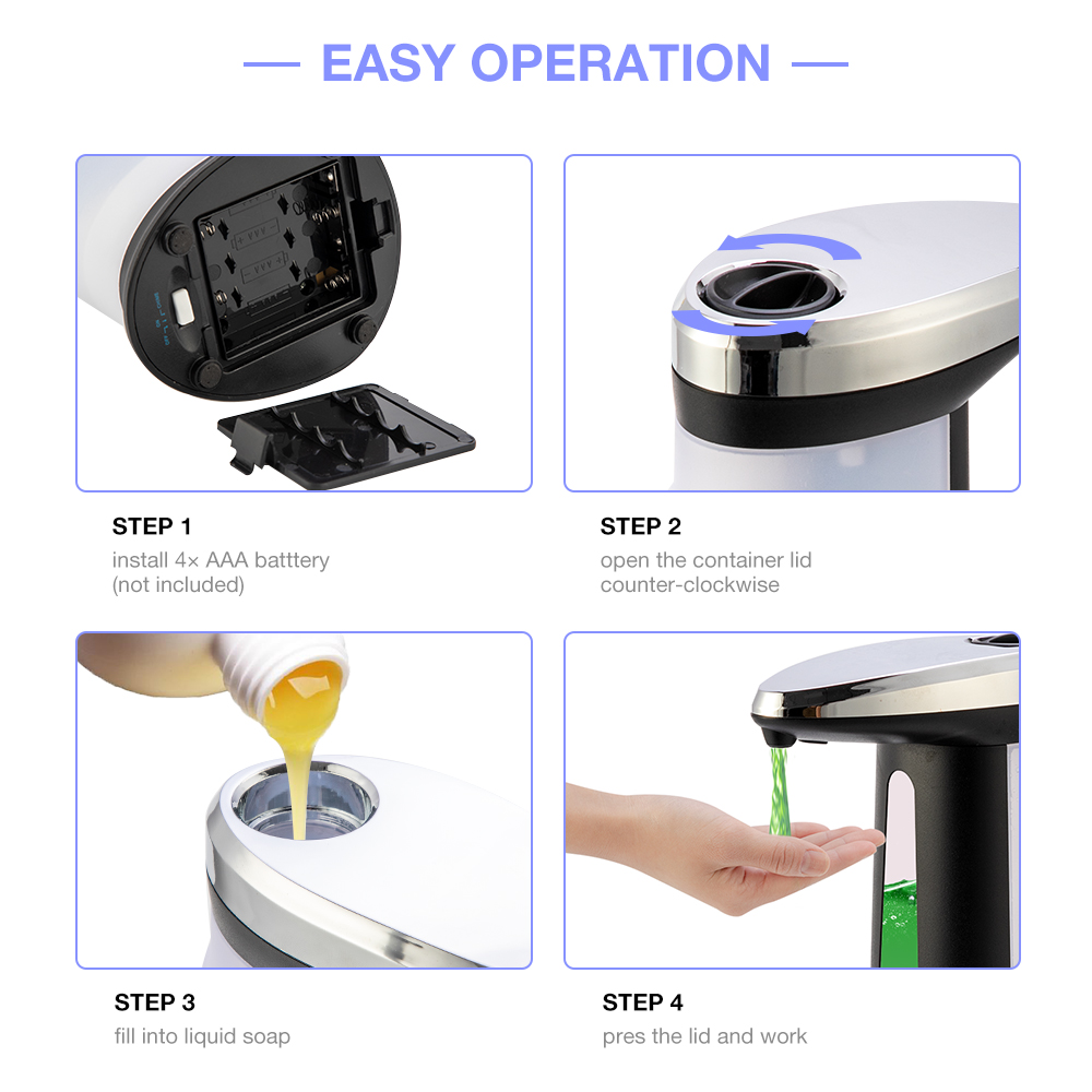 Hfa714a8c77f44d7086899d804b5b356aR Touchless Liquid Soap Dispenser Smart Sensor Hands-Free Automatic Soap Dispenser Pump For Bathroom Kitchen 400ML
