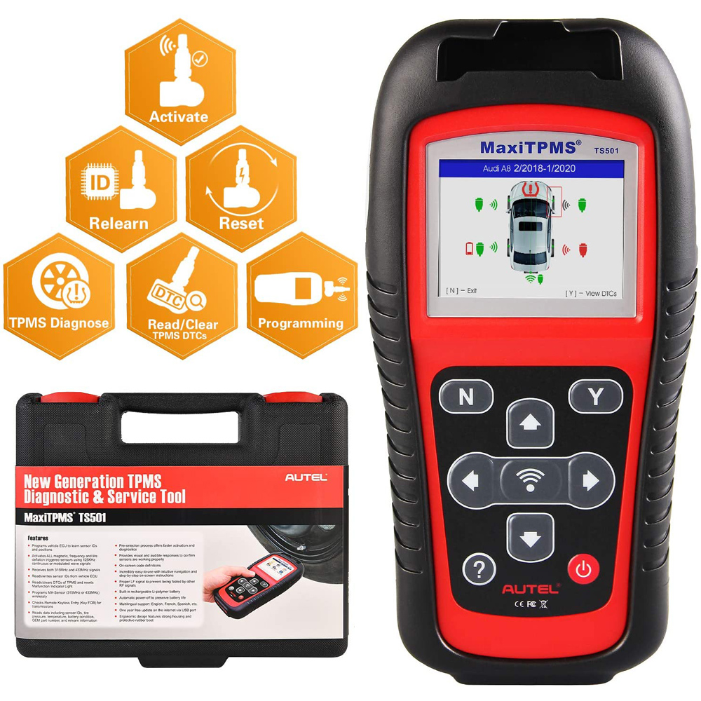 Autel MaxiTPMS TS501 TPMS Car Diagnostic Tool Activate TPMS sensors  Read sensor data TPMS Sensor Programming  Check Key FOB OBD