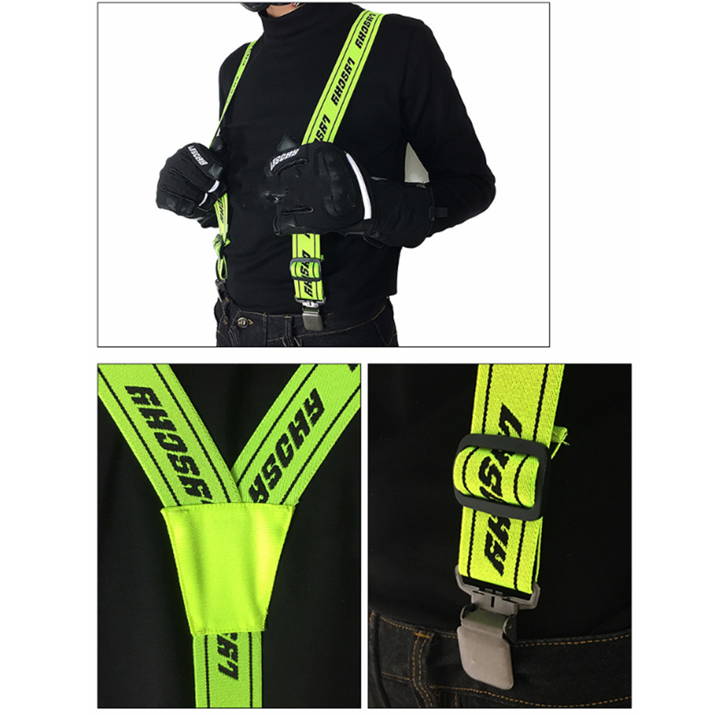 Heavy Duty Braces Pant Suspenders Elastic Adjustable Y Back Suspender Straps for Motorcycle Racing Pants Snow Jet Apparel Parts