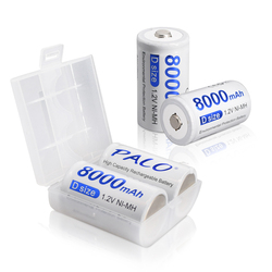 Palo 1-12pcs D Size Rechargeable Battery D Type 1.2V 8000mAh NI-MH Nimh Ni Mh High Capacity Current Batteries for Gas Cooker