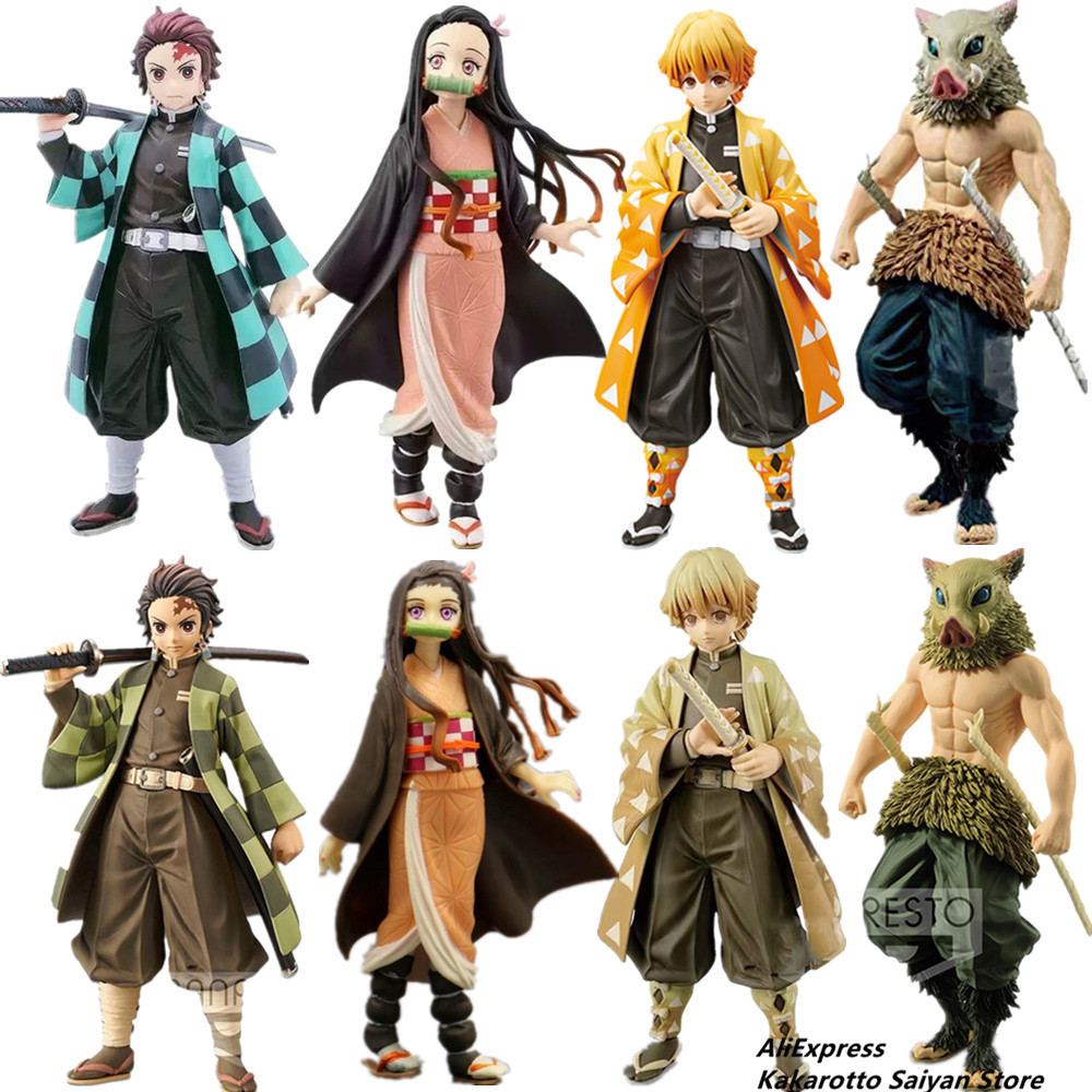 Demon Slayer Kimetsu No Yaiba Tanjirou Nezuko Zenitsu Inosuke PVC Action Figures Toys Demon Slayer Anime Figurine Toy