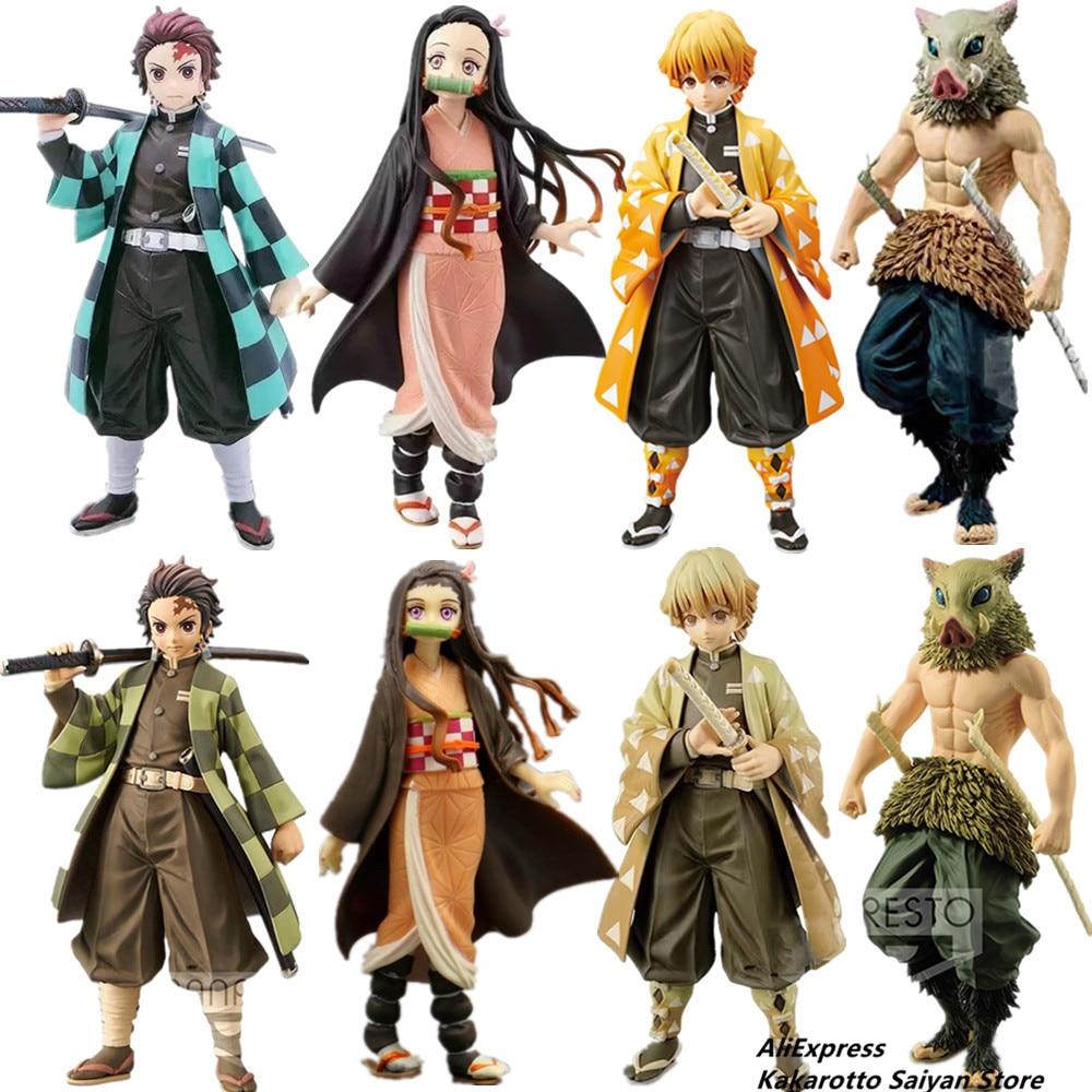 Demon Slayer Kimetsu No Yaiba Tanjirou Nezuko Zenitsu Inosuke PVC Action Figures Toys Demon Slayer Anime Figurine Toy