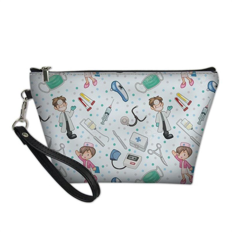 Casual Women Big Make Up Case Makeup Bag Cute Cartoon Nurse 3D Print Female Travel Cosmetic Bag Fashion Pu Leather Makeup Bags