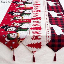 Twins 180*35cm Cotton Embroidered Christmas Table Runner Deer  Xmas Tree Tablecloth Home Party Wedding Decor