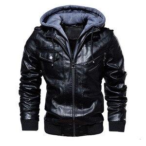 Image 5 - Inverno jaqueta de couro da motocicleta com capuz jaqueta de lazer quente dos homens casaco de couro do plutônio M 5XL