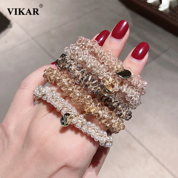 VIKAR New Women Shiny Diamond Elastic Hair Bands Elegant Ponytail Holder Scrunchie Rubber Bands Hair Ropes Lady Hair Accessories iteso 2020 new crystal women hair ties girls elastic hair bands ponytail holder scrunchie rubber bands lady hair accessories