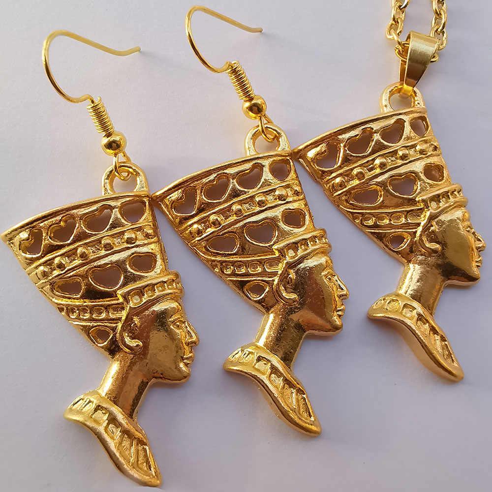 Ägypten Frauen Schmuck Set Gold Ägyptischen Königin Nofretete Charms Baumeln Ohrringe & Anhänger Halskette Set Vintage Amulett Schmuck Geschenk