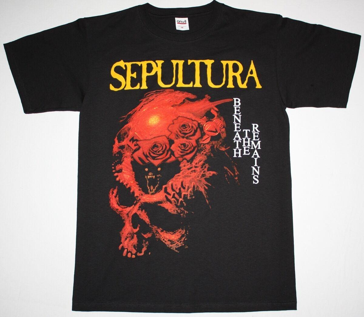 SEPULTURA BENEATH THE REMAINS SOULFLY CAVALERA DEATH METAL NEW BLACK T SHIRT Cheap Wholesale tees,100% Cotton Tee Shirt