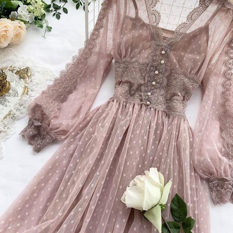Lace Floral V-Neck Long Sleeve Polka Dot Dress 34