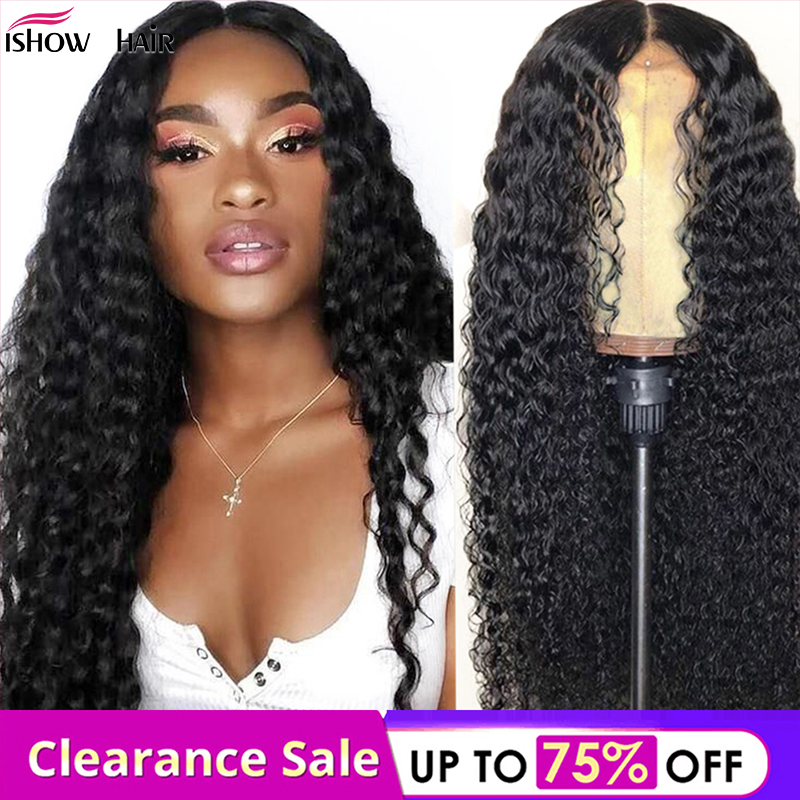 4x4 Deep Wave Lace Closure Wig Brazilian Lace Front Human Hair Wigs Pre-Plucked With Baby Hair Ishow Remy Curly Lace Front Wig