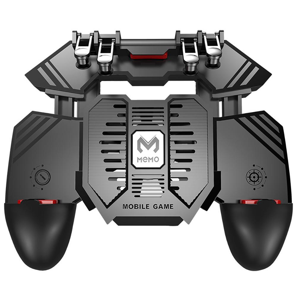 AK77 Phone Cooler Fan Game Controller Grip 6 Finger Trigger Joystick For PUBG