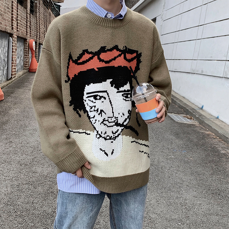 Winter New Sweater Men Warm Fashion Cartoon Printing Casual O-neck Knit Pullover Man Loose Long-sleeved Sweater Male Clothes