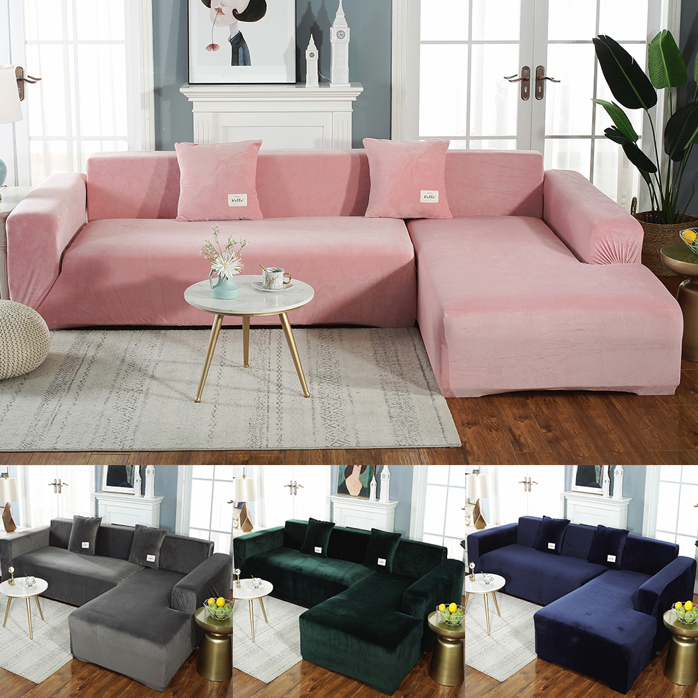 Meijuner Sofa Cover Solid Color Thick Velvet Sofa Cover Elastic Universal Slipcover All-inclusive Couch Cover Dining RoomY414
