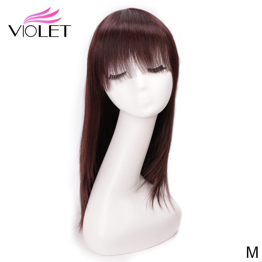 VIOLET Straight Peruvian Medium Ratio 20/22 Inch Non-Remy Human Hair BoB Wig With Bangs Two Colors For Black Women Long BoB Wig