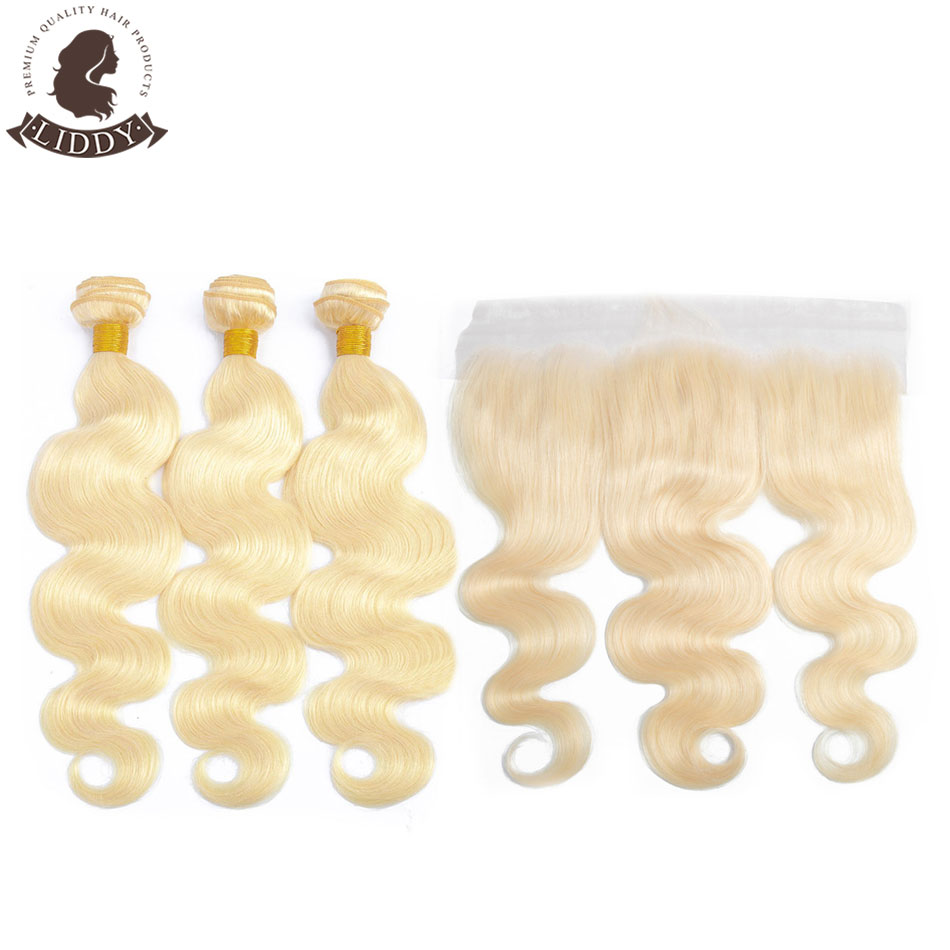 Liddy 613 Blonde Bundles With Frontal Malaysian Body Wave With Lace Frontal Non-remy Blonde Human Hair Lace Frontal With Bundle