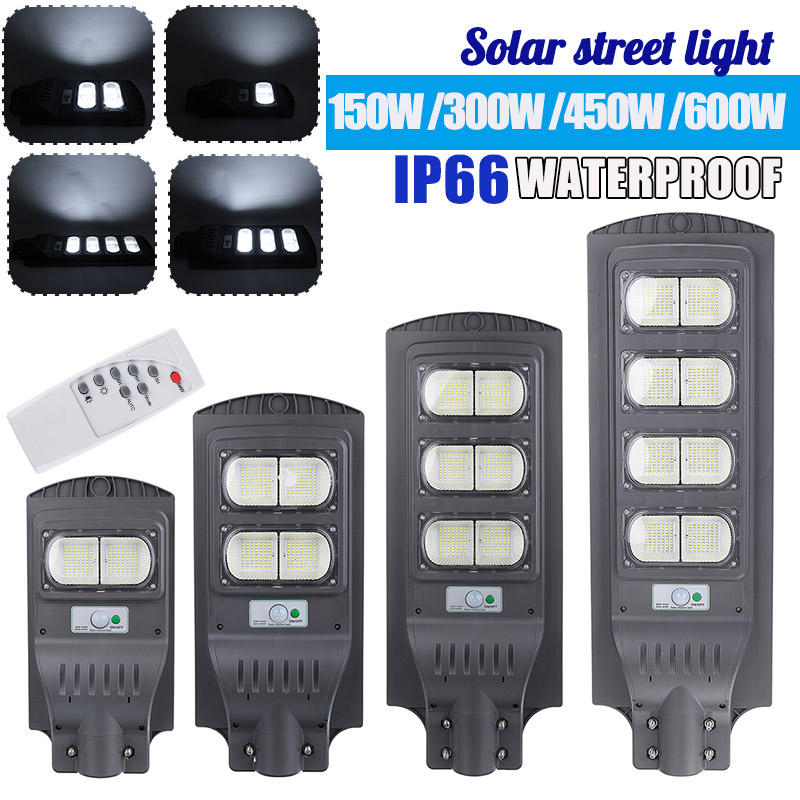 AUGIENB 150W/300W/450W/600W Solar Street Light Waterproof IP65 PIR Motion Sensor + Remote Control Outdoor Lighting Security Lamp