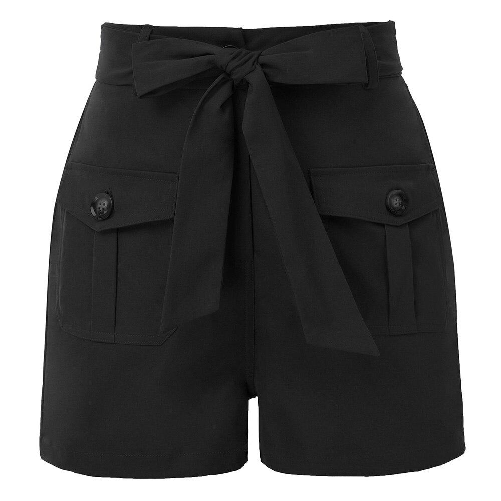 Women Summer Shorts Fashion Work Shorts Short Pants With Pockets Elastic Waist Buttons Belt Decorated High Waist Shorts Lady