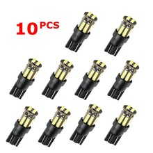 10 pces carro t10 led w5w 10smd 7020 smd 194 168 cunha substituição reversa instrumento painel lâmpada lâmpadas brancas para luzes de afastamento