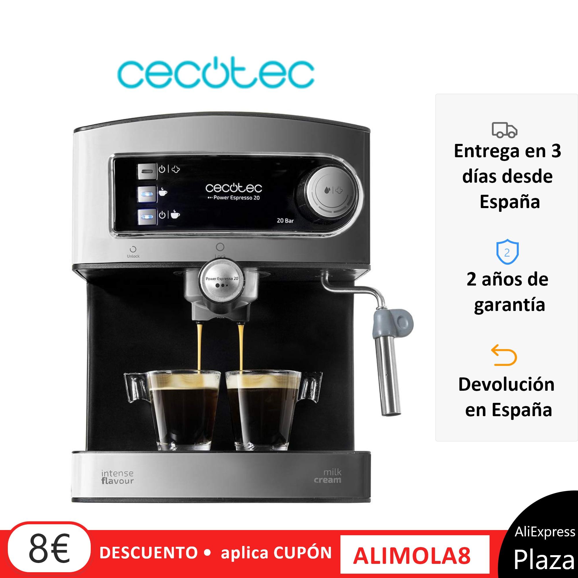 Cecotec Machine à café expresso pression 20 Bars café avec Double sortie vaporisateur réglable pour lait mousseux facile à nettoyer