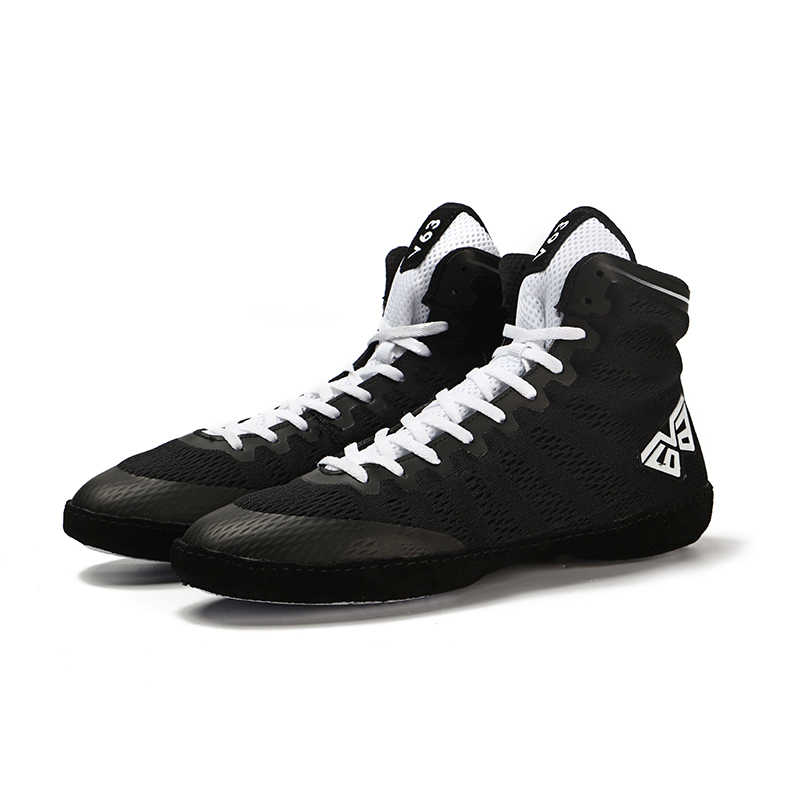 Men Wrestling Shoes Lightweight Outdoor Male Boxing Shoes Fighting Black White High Top Soft Man Training Shoes Sports