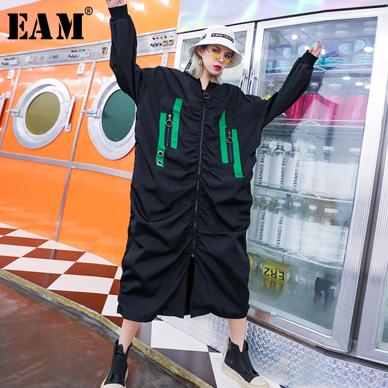 [EAM] Women Back Printed Big Size Long Trench New Hooded Long Sleeve Loose Fit Windbreaker Fashion Autumn Winter 2019 1B287