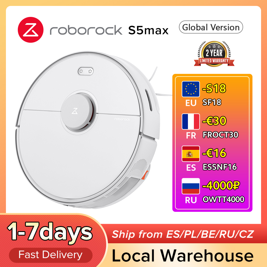 Roborock S5 max Vacuum Cleaner Wet Dry Robot Mopping Sweeping Dust Sterilize Smart Planned Wash Mop upgrade for S50 S55 Vacuum Cleaners  - AliExpress