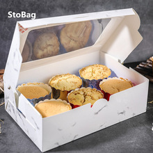 StoBag 10pcs Cupcake Box With Window Bread Cake Boxes And Packaging Patisserie Wedding Birthday Party Cookies Baby Shower DIY