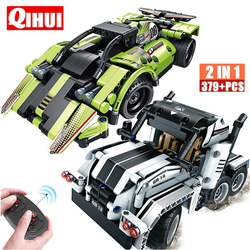 QIHUI RC Racing Car Electric Building Blocks Off-road Technic Remote Control Truck Bricks Creator STEM Toys For Children Gift
