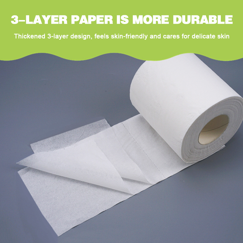 10x  3 Ply Native Wood Pulp Material Toilet Paper Tissue Bathroom Wood Pulp White Soft Household Sanitary Toilet Tissue