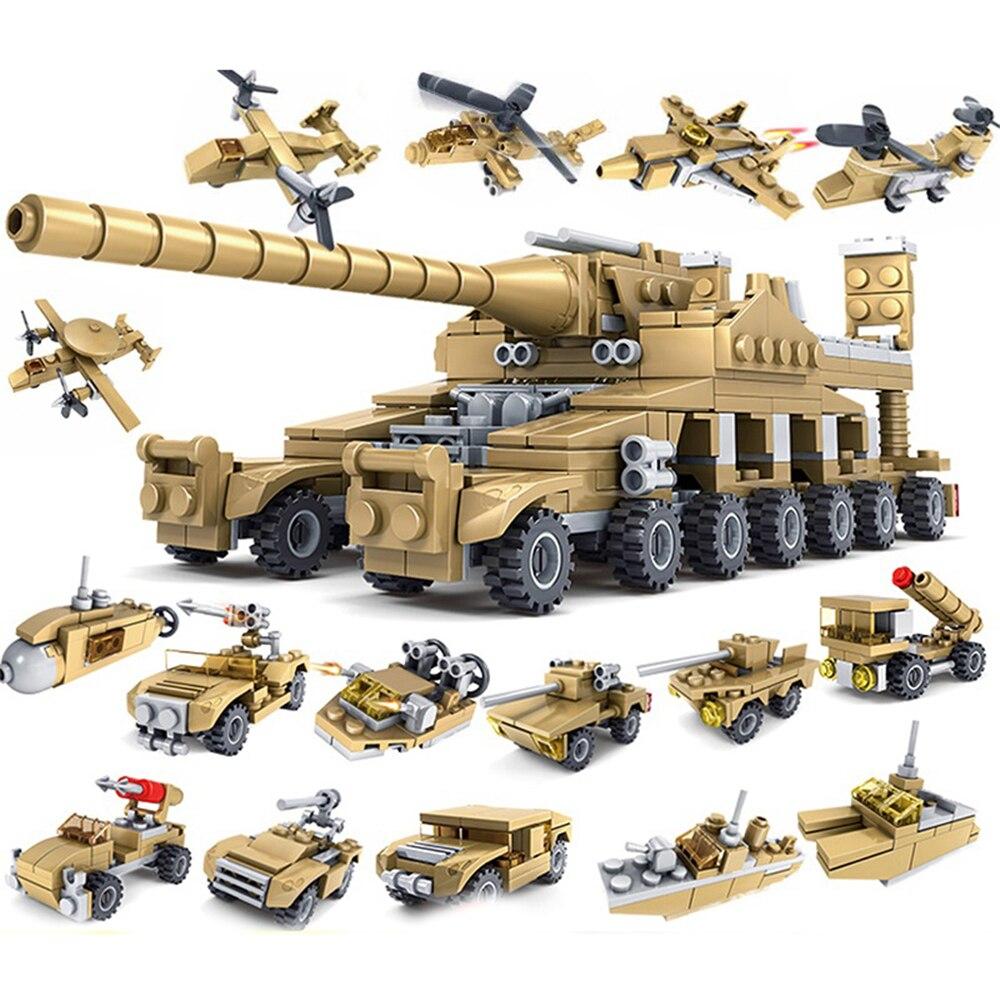 16 En 1 juguetes bloques de construcción vehículo militar tanque avión niño juguete educativo camión bloques compatibles LegoED modelo de ladrillos Gran tamaño de bloques Compatible LegoINGlys Duploed Casa de la ciudad techo partícula grande edificio Castillo de bloques de ladrillo juguetes para los niños