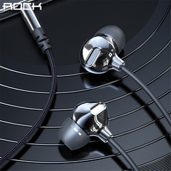 Rock In-Ear Zircon Nano Obsidian Earphone 3.5mm AUX Headset With Mic Balanced Immersive Bass Earphones for iPhone Sumsung Xiaomi