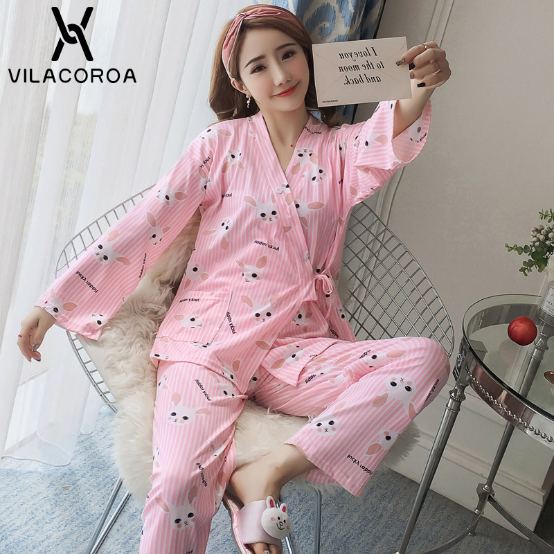 Autumn Printed Pink Top + Pant Two Piece   Sets     Pajamas     Set   For Women Thin Cute Comfortable Soft Casual Sleepwear   Set   Girls p jama