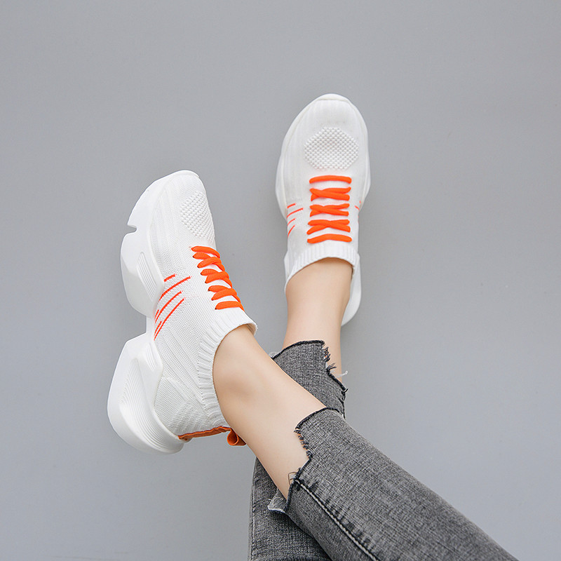 Flyknit Mesh Breathable Women's Outdoor Leisure Shoes  Sports Casual Sneakers Lightweight Rubber Outsole Women's Vulcanize Shoes