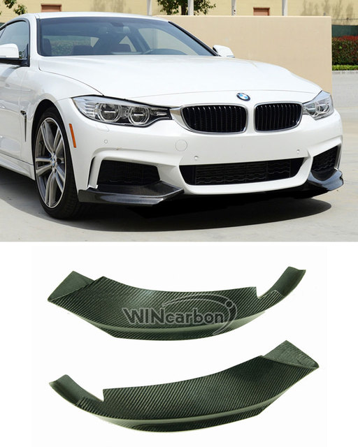 P Style F32 Real Carbon Front Bumper Splitters for BMW F32 M Tech Bumper Only 1pair