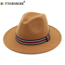 BUTTERMERE Fedora Hats For Women Khaki Tweed Felt Hat With Striped Belt Female Vintage Soft Jazz Caps Ladies Winter Fedoras