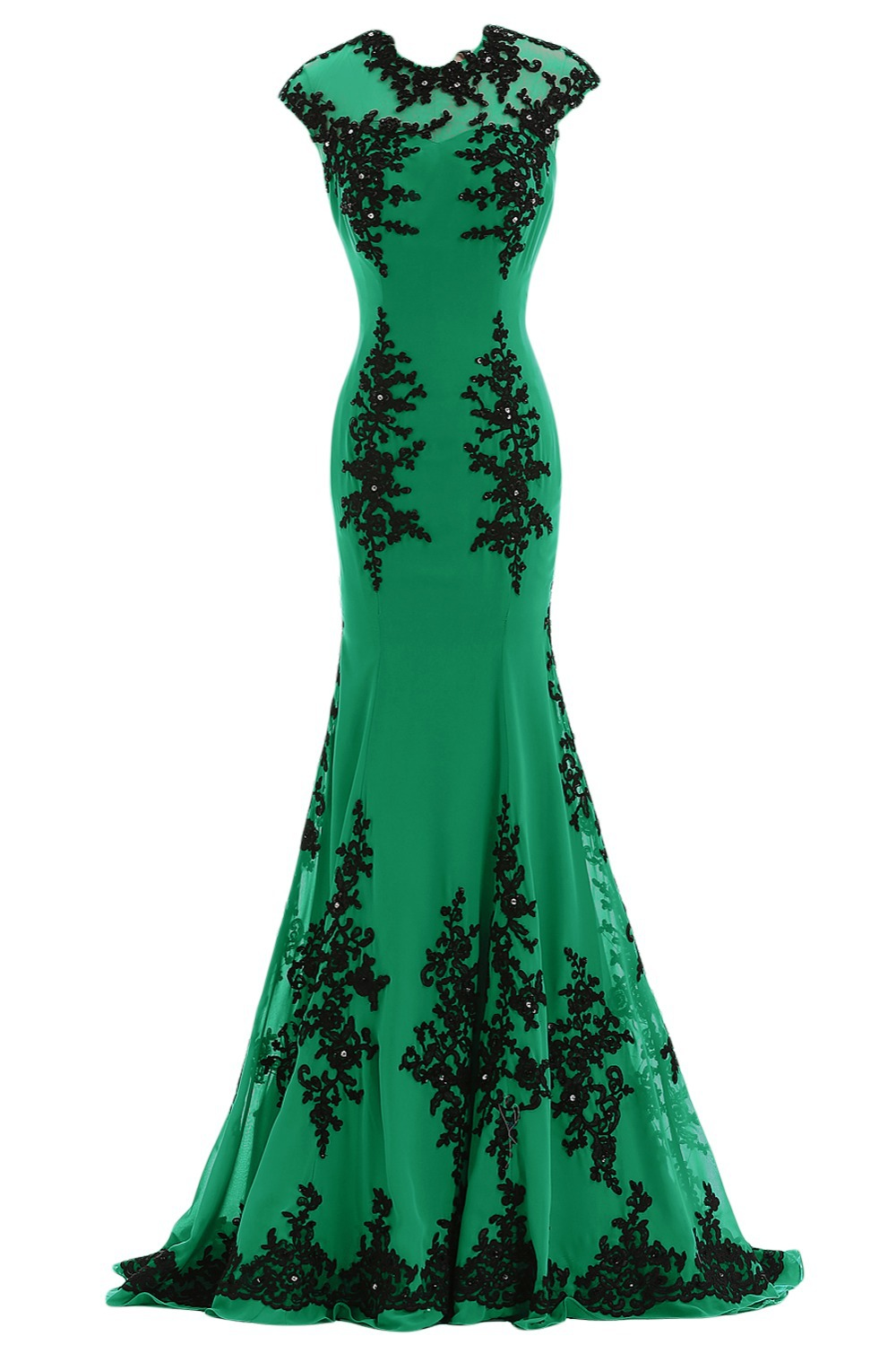 US $16.16 21618 vestido de noiva Emerald Green Arabic Style Evening gown  Mermaid Black lace Applique Sample mother of the bride dressesMother of  the