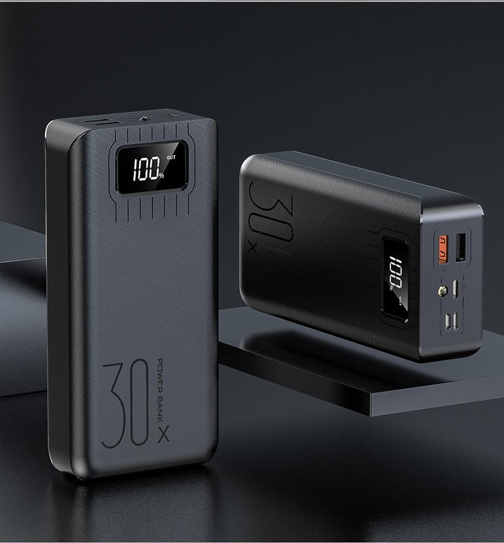 Внешний аккумулятор 30000 мАч Внешний аккумулятор портативное быстрое зарядное устройство для всех смартфонов с зарядным устройством двойной USB водонепроницаемый - Цвет: black 10000mah
