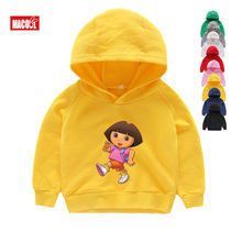 2T-8T Girl Hoodies Sweatshirts Casual Funny Boys Tops 2019 New T Shirts Kids Toddler Dora Explorer