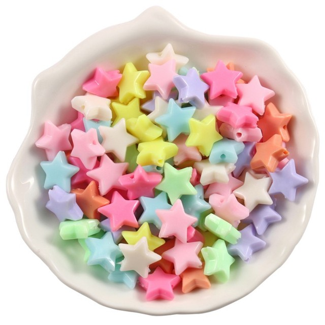 100pcs/lot Mixed Acrylic Beads Heart Stars Loose Spacer Beads for Needlework Jewelry Making Handmade Diy Bracelet Accessories 4