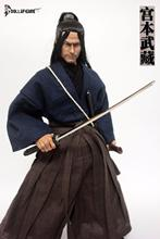 1/6 scale man head sculpt ancient Japanese samurai Ronin Miyamoto Musashi male model clothes clothing set toy with sword sandals